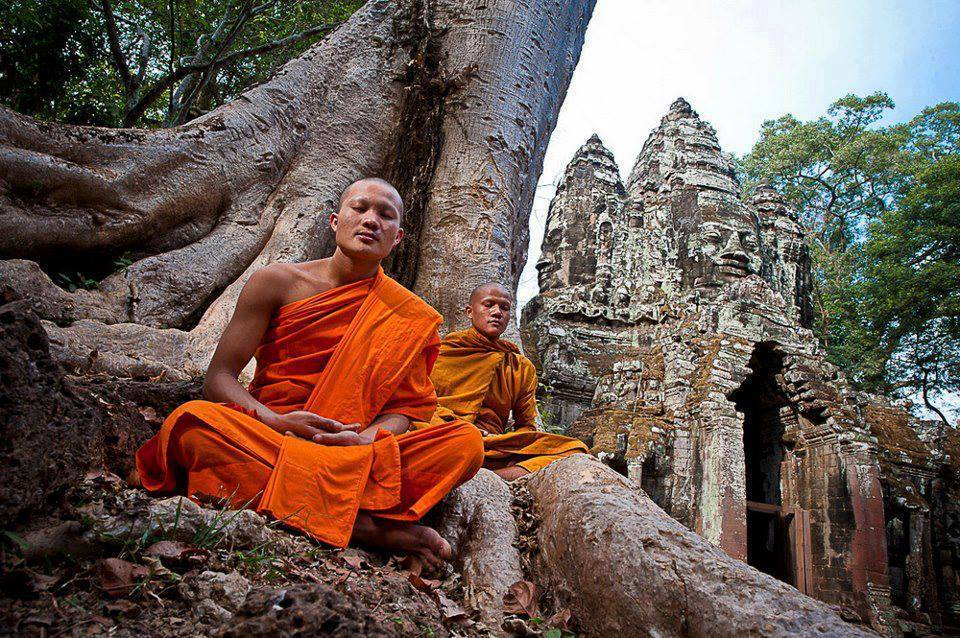 Monks Meditating at Bayon Temple